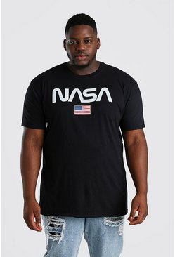Black Plus Size NASA Stars Stripes License T-Shirt