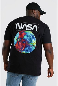 Black Big And Tall NASA Print License T-Shirt