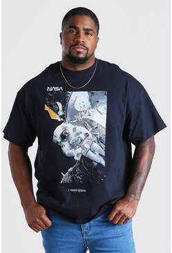 Black Plus Size NASA Space Print License T-Shirt