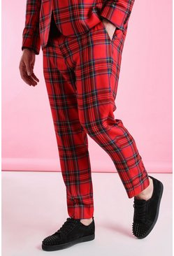Red Plus Size Skinny Fit Cropped Tartan Trouser