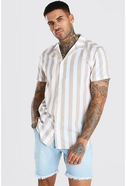 Stone beige Short Sleeve Stripe Shirt