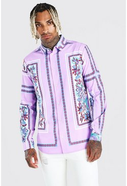 Lilac purple Long Sleeve Placement Print Shirt