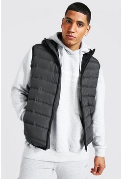 Mid grey grey Quilted Zip Through Gilet With Hood