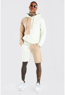 Taupe beige MAN Signature Colour Block Short Tracksuit