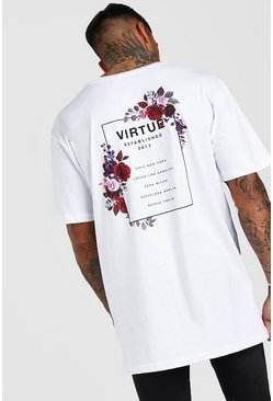 White Oversized Floral Back Graphic T-Shirt