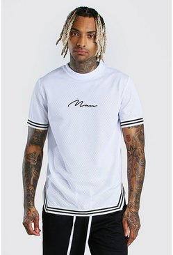 White MAN Signature Airtex T-Shirt With Tape Detail