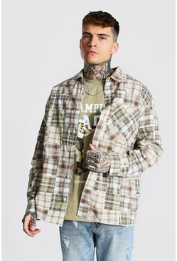 Oversized Patchwork Check Shirt, Taupe beige
