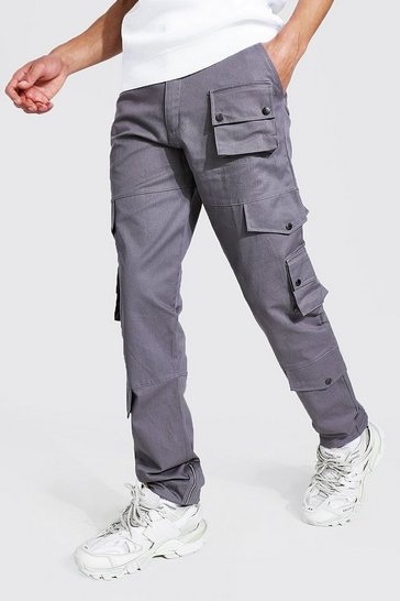 Slate grey Tall Relaxed Fit Twill Cargo Trouser