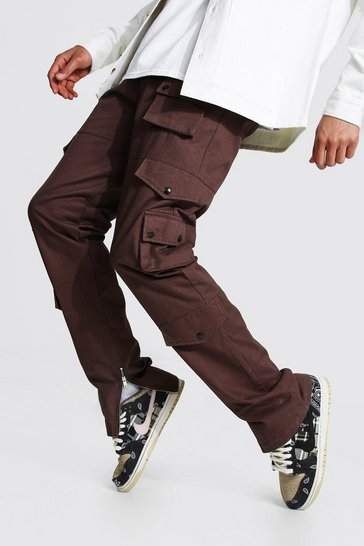 Chocolate brown Tall Relaxed Fit Twill Cargo Trouser
