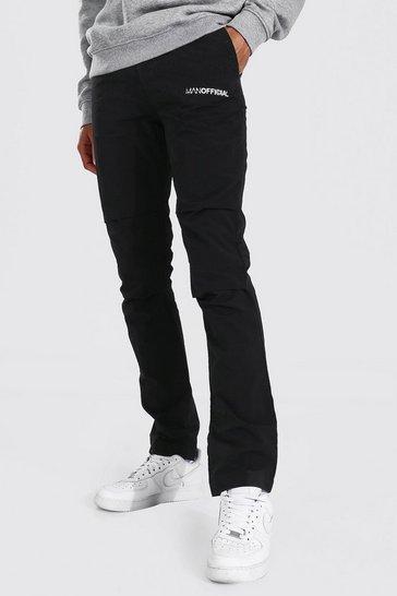 Black Tall Man Official Crinkle Shell Cargo Trouser