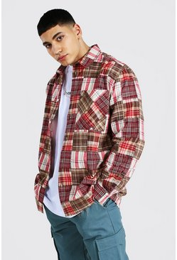 Oversized Patchwork Check Shirt, Red rosso