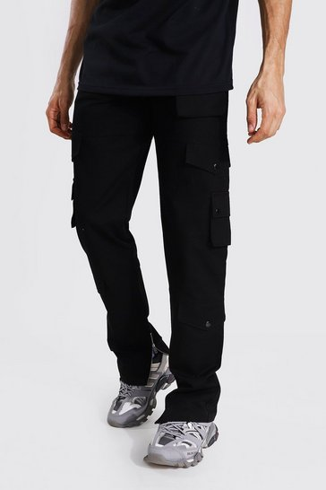 Black Tall Relaxed Fit Twill Cargo Trouser