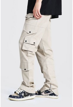 Ecru white Tall Baggy Keperstof Cargo Broek
