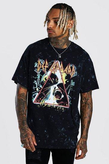 Charcoal grey Oversized Def Leppard Acid Wash T-Shirt