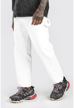 White Loose Fit Cargo Jeans With Drawstring Hem