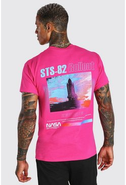 Pink Nasa Astronaut Front & Back Print License T-Shirt