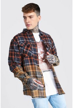 Orange Oversized Bleach Ombre Check Shirt
