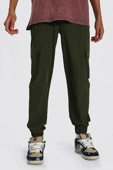 Khaki Tall Shell Zip Pocket Cargo Jogger Trouser