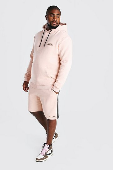 Dusky pink pink Big And Tall Hooded Short Tape Tracksuit