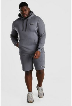 Slate grey Plus Size Hooded Short Tape Tracksuit