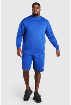 Blue Plus Size Unrestricted MAN Short Tracksuit