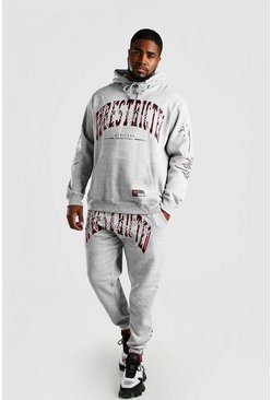 Grey marl grey Plus Size Unrestricted Hooded Tracksuit