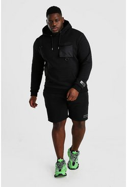 Black Plus Size Hooded Utility Short Tracksuit