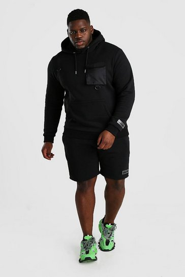 Black Big And Tall Hooded Utility Short Tracksuit