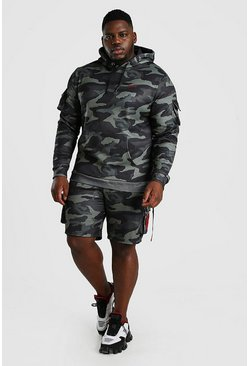 Camo khaki Plus Size MAN Utility Short Hooded Tracksuit