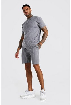 Grey MAN Signature Stripe Polo & Short Set