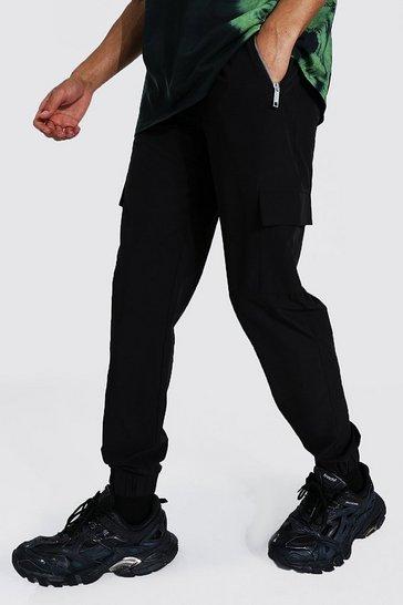 Black Tall Shell Zip Pocket Cargo Jogger Trouser