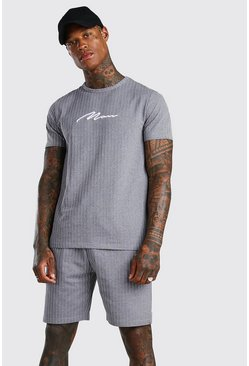 Grey grå Man Signature Randigt set med t-shirt och shorts