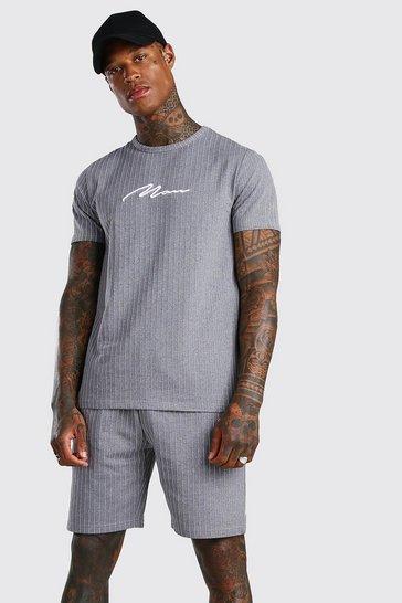 Grey MAN Signature Stripe T-Shirt and Shorts Set