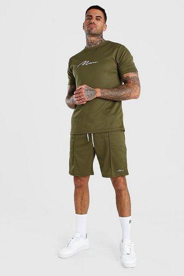 Khaki MAN Signature Waffle T-Shirt And Pintuck Shorts