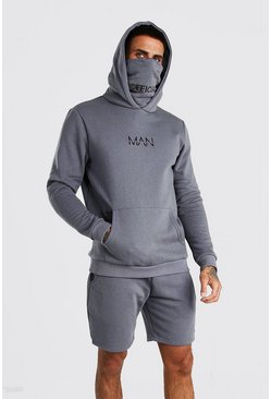 Slate grey MAN Snood Hooded Short Tracksuit