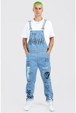 Mid blue blue Slim Long Overalls With Graffiti Print