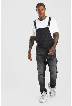 Washed black Skinny Long Denim Dungarees Paint Splatter