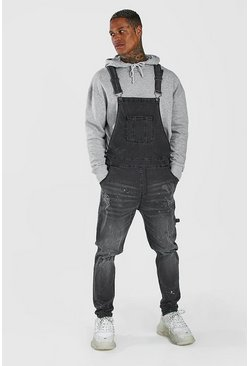 Charcoal grey  Skinny Long Denim Dungarees With Paint Splat