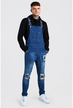 Vintage blue blue Skinny Long Denim Dungarees With Bandana