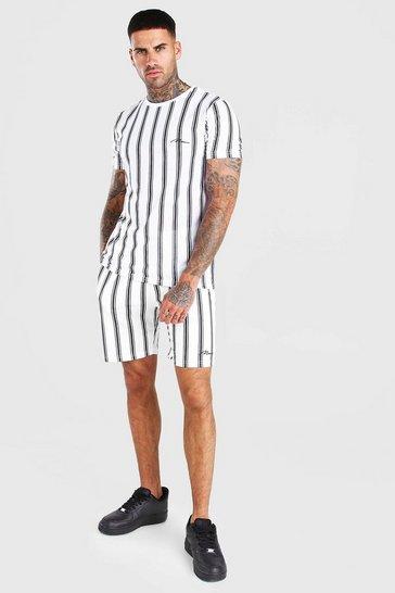 White MAN Signature Stripe T-Shirt & Short Set