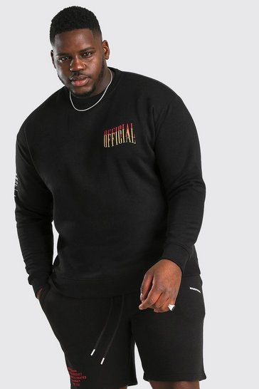 Black Plus Size Loose Fit MAN Official Sweater