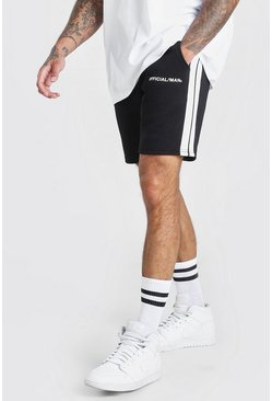 Black MAN Official Relaxed Fit Shorts With Tape