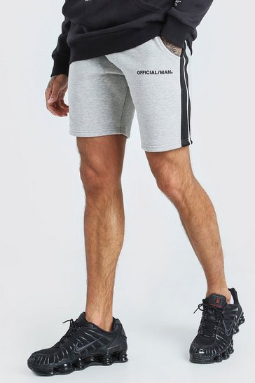 Grey MAN Official Relaxed Fit Shorts With Tape