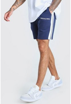 Navy MAN Official Relaxed Fit Shorts With Tape