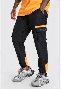 Black Shell Cargo Contrast Joggers With Rubber Badge