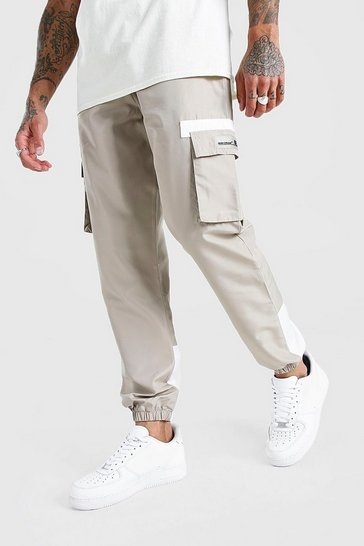 Stone beige Shell Cargo Contrast Joggers With Rubber Badge