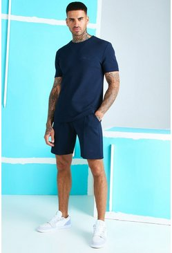 Navy MAN Signature Jacquard T-Shirt & Pintuck Short Set