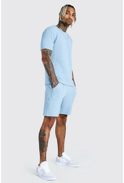 Blue MAN Signature Jacquard T-Shirt & Pintuck Short Set