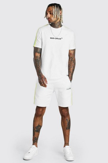 Ecru white MAN Official T-Shirt & Short Set With Tape