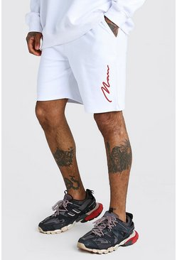 White 3D MAN Signature Embroidered Short